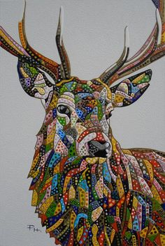 """Abstract Deer 5 (Sculptural) by Paula Horsley. Painting with EVA (plastic/resin) on 24"""" x 36"""" deep edge canvas."""