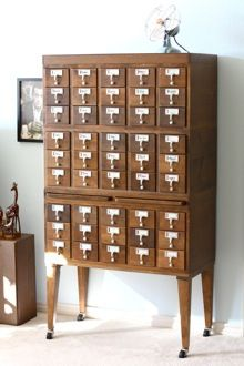 I've wanted a card catalog for so long, especially since my college sold their for $50 each and I had no way to get it home!  card catalog - small notebook