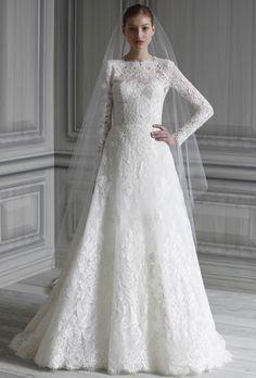 Brides: Monique Lhuillier. Long sleeve bateau neck natural waist bodice with hand appliqued A-line skirt.More Details From Monique Lhuillier