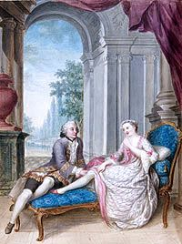 """In this tiny, scandalous painting Marie Antoinette is portrayed as seducing a man who is not the King, her husband. Note, the man has his hand underneath her skirt. Copies of images like this one were widely circulated, and served to inflame the populace.Those at court were merely amused by these """"cartoons."""""""