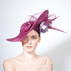 Nera- Floral Upturn Petal Hat with Feather & Crin