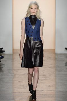 Dressy patchworked cool in navy black and embellishment.  Peter Som | Fall 2014 Ready-to-Wear Collection | Style.com
