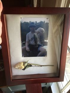 Simple memorial shadow box and saving a flower from the funeral