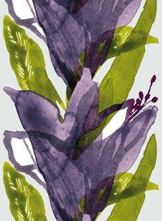 Kylmänkukka - paksu puuvillasatiini (v.harmaa,violetti) |Kankaat, Satiinit ja batistit | Marimekko