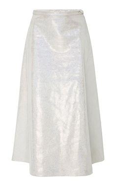 Iridescent Leather Midi Skirt by RODARTE for Preorder on Moda Operandi