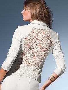 I am going to be the best dressed office woman. Lace Blazer, Lace Jacket, Blouse Styles, Blouse Designs, Corset Sewing Pattern, Iranian Women Fashion, Trendy Fashion, Womens Fashion, Embroidery Fashion