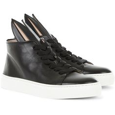 Minna Parikka Black High-Top Bunny Sneakers (1.650 DKK) ❤ liked on Polyvore featuring shoes, sneakers, black high top shoes, platform sneakers, lace up sneakers, black sneakers and black hi tops