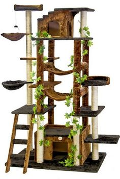 This fancy cat tree simulates outside for kitties and gives them lots of places to climb.