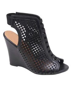 WHY SO HIGH??? Look at this Bumper Black Piper Peep-Toe Wedge on #zulily today!