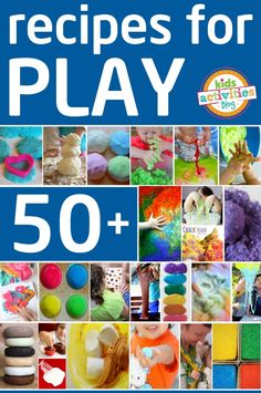 SO many recipes for play with your kids.  We have playdough, slime, goop, paints, bubbles and MORE!