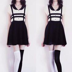 "Harajuku students braces skirt    Coupon code ""cutekawaii"" for 10% off"
