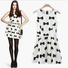 New 2014 Spring Summer Dress  Bow Pattern Printed Women Casual Dress Knee Length White Vintage Dresses Free Shipping Size S-L