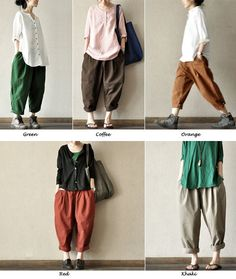 Coffee Lovely Loose Leisure Cotton Pants Casual by clothingshow