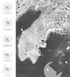 Icebergs trading post in a melting Greenland by Alexandre Braleret Architecture Graphics, Architecture Student, Architecture Drawings, Architecture Portfolio, Architecture Diagrams, Architecture Visualization, Urban Analysis, Site Analysis, Location Analysis