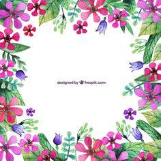 Flowers Vectors, Photos and PSD files Wreath Watercolor, Watercolor Art, Fun Crafts, Arts And Crafts, Vine Wall, Flower Clipart, Arte Floral, Pencil Illustration, Grafik Design