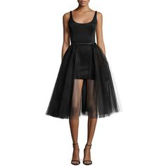 Halston Heritage Sleeveless Belted Cocktail Dress w/ Tulle Overlay ($420) found on Polyvore featuring women's fashion, dresses, black, fit flare dress, tulle dress, fit and flare dress, princess seam dress and overlay dress