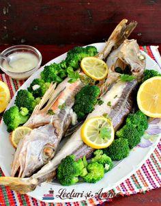 Randunica de mare la cuptor cu garnitura de broccoli Fresh Rolls, Fish Recipes, Broccoli, Vegetables, Ethnic Recipes, Food, Essen, Vegetable Recipes, Meals