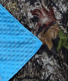 Mossy oak camo camoflauge minky blanket car seat stroller blue baby boy girl #Handmade