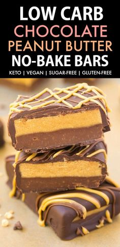 Low Carb No Bake Chocolate Peanut Butter Bars (Keto, Vegan, Sugar Free, Gluten Free)- Easy and healthy bars which taste just like a Reese's Peanut Butter Cup but made completely sugar-free! The perfect snack or dessert. #keto #ketodessert #peanutbutter #h