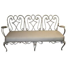 French 40's Wrought Iron Garden Bench   From a unique collection of antique and modern garden furniture at https://www.1stdibs.com/furniture/building-garden/garden-furniture/