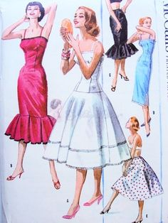 1950s SIZZLING Five Way Slip or Petticoat Lingerie Pattern McCALLS 3671 Fab Mermaid Version Great As Evening Dress, 5 Styles Bust 34 Vintage Sewing Pattern