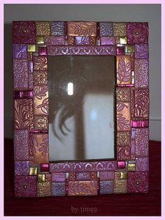 portafoto fatto a mano di fimo, polymer clay handmade mosaic photo frame | Flickr - Photo Sharing!