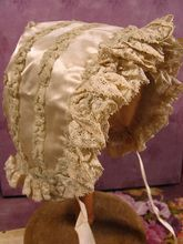 Silk and Chiffon antique doll bonnet