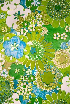 Turquoise Floral Wallpaper.Vintage Retro Wallpaper – 2