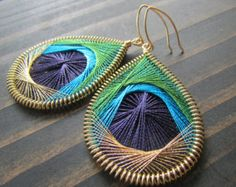 Peacock Feather Earrings Large Olive Green by OtterCreekDesigns Blue Gold, Dark Blue, Gold Embroidery, Peacock Feathers, Feather Earrings, Olive Green, Crochet Earrings, Bright, Handmade Gifts