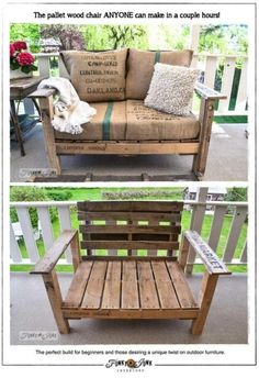 coffee bag cushion and pallet chair