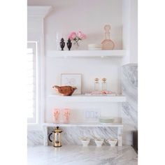 soft and feminine kitchen styling. Image via stylemepretty
