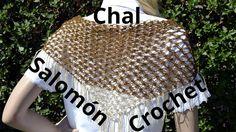 Como tejer un Chal con el Punto Salomon Triangular en tejido crochet o g...