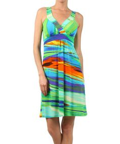 Look what I found on #zulily! Turquoise Waves Empire-Waist Dress by Pretty Young Thing #zulilyfinds