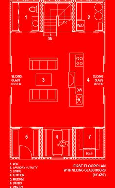 three shipping containers stacked on top of two. This is the lower floor plans