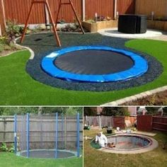 In ground trampoline.  Fixes having to mow under it, drastically reduces chance of injury, increases likely-hood of family using it.