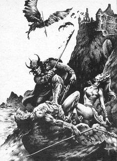 Conan by Stephen Fabian High Fantasy, Dark Fantasy Art, Heavy Metal Art, Conan Comics, Fantasy Sword, Conan The Barbarian, Pulp, Sword And Sorcery, Fantasy Paintings