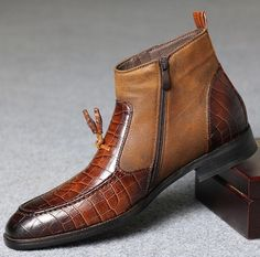 Mens Pattern Formal Leather Oxford Shoes Casual Fur Lined Dress Crocodile Boots Mens Zipper Boots, Mens Ankle Boots, Mens Shoes Boots, Shoe Boots, Oxford Shoes Outfit, Dress Shoes, Leather Men, Leather Boots, Crocodile Boots