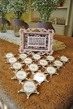 """Cowgirl party idea, I'm sre it's not hard to make this a cow""""boy"""" party idea :) Badge name tags Cowboy Party, Cowboy Birthday Party, Horse Party, 4th Birthday Parties, Pirate Party, Cowgirl Party Favors, Birthday Ideas, 3rd Birthday, Country Bachelorette Parties"""