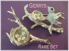 Gerrys - Bird & Nest Rhinestone Pearl Brooch Set - Very Rare Set - FREE SHIPPING by FindMeTreasures on Etsy
