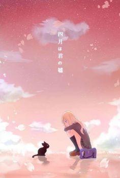 The iconic cat and Miyazono Kaori - Your lie in April / Shigatsu wa Kimi no Uso Cat Anime, Manga Anime, Fanarts Anime, Kawaii Anime, Cute Anime Wallpaper, Kitty Wallpaper, Animes Wallpapers, Cute Wallpapers, Me Me Me Anime