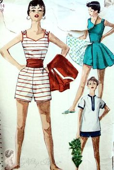 Beach Wear Swim Suit Pattern Playsuit, Short Full Skirt and Pull Over Shirt Simplicity 1169 Vintage Sewing Pattern Bust 32 Motif Vintage, Vintage Dress Patterns, Vintage Dresses, Vintage Outfits, Vintage Clothing, Rockabilly Clothing, Vintage Style, Retro Fashion, Vintage Fashion
