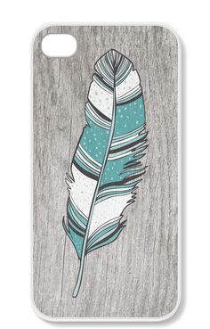 Turquoise andHeather gray Feather iPhone Case..heather feather haha