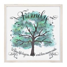 Watercolor Family Tree Shadowbox | Kirklands