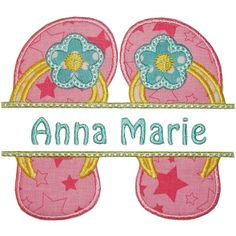 Flip flop Name Plate Applique