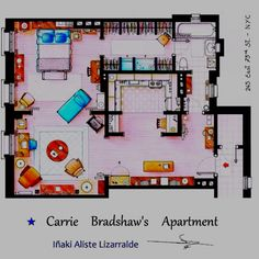 Sex and the City // Room layout of Carrie's apartment
