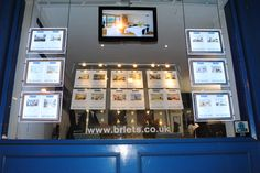 Ultra bright Delixe Light Pockets in an estate agents window. Office Signage, Led Board, Real Estate Office, Estate Agents, Window Displays, Office Ideas, Liquor Cabinet, Windows, Bright