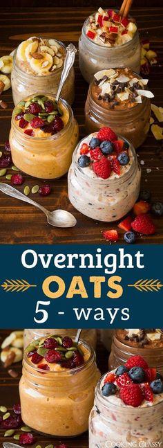 Overnight Oats Five Ways - Cooking Classy (wine smoothie greek yogurt) Best Breakfast, Healthy Breakfast Recipes, Brunch Recipes, Healthy Snacks, Healthy Recipes, Nutritious Breakfast, Healthy Yogurt, Vegetarian Recipes, Diet Recipes