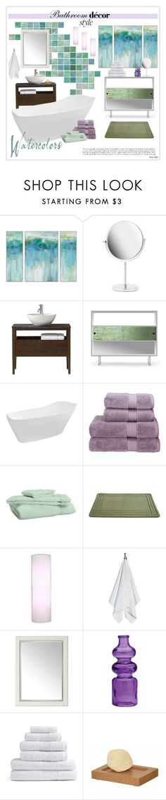 """""""Watercolors Bathroom Decor"""" by mcheffer ❤ liked on Polyvore featuring interior, interiors, interior design, home, home decor, interior decorating, Bath Bazaar, Home Decorators Collection, Spot on Square and Mizu"""