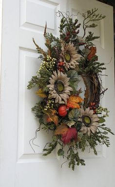 Fall Wreath Autumn Splendor Front Door Wreath by SimpleJoysofLife