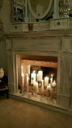 20 Simple Ways to Decorate a Fireplace & Mantle with Flameless Candles - Easy l. - 20 Simple Ways to Decorate a Fireplace & Mantle with Flameless Candles – Easy living room firepl - Candles In Fireplace, Diy Fireplace, Living Room With Fireplace, Fireplace Design, Decorative Fireplace, Vintage Fireplace, Decorating Ideas For Fireplace, Fireplace Decorations, Farmhouse Fireplace
